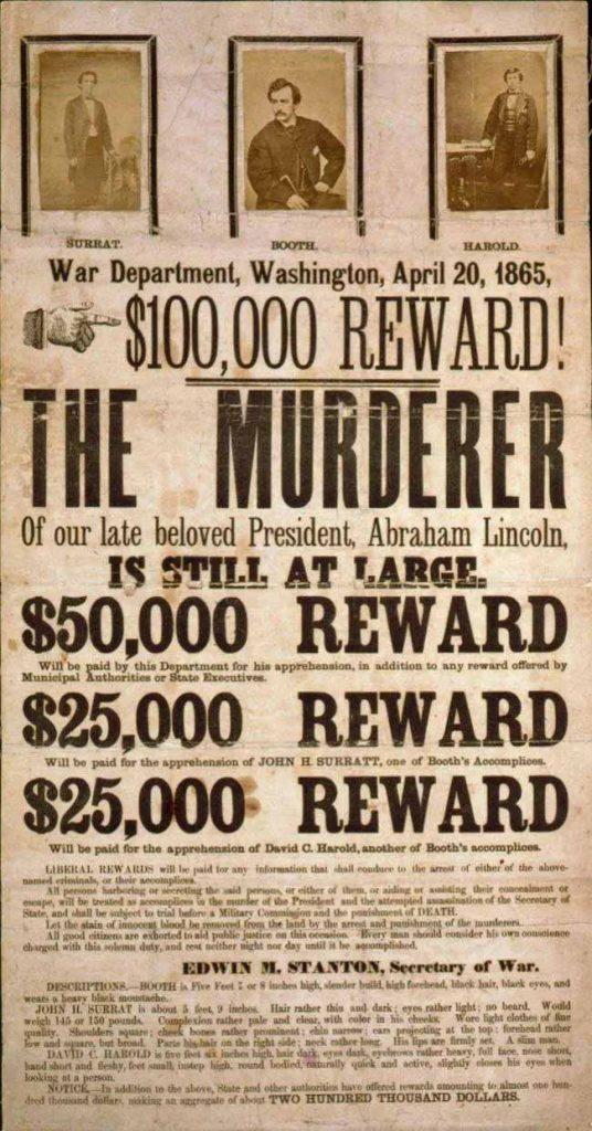 Affiche wanted pour le meurtre d'Abraham Lincoln