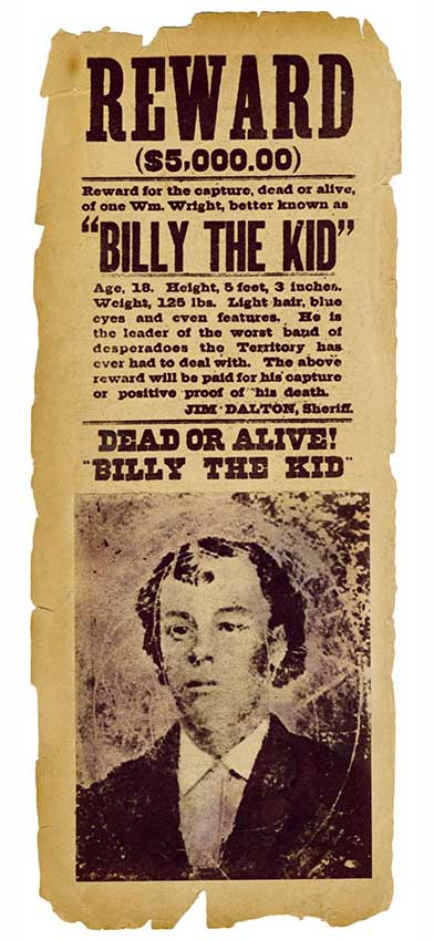 Affiche wanted Billy the kid